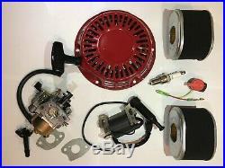 Honda GX140 GX160 GX200 Carburetor, Ignition Coil, Recoil, switch, plug Service Kit