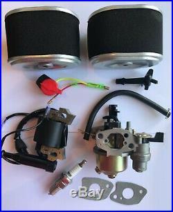 Honda GX140 GX160 GX200 Kit of Carburetor, Plug, Ignition Coil, 2Filter, Off Switch