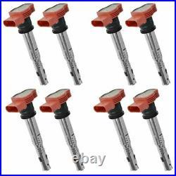 Ignition Coil Red Set of 8 for Audi A4 A5 A6 A7 A8 Q7 R8 S4 S5 S6 S8 VW Touareg