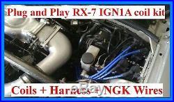 Mazda RX-7 93-5 IGN1A ignition coil upgrade + NGK spark plug wires + harness AEM