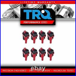 TRQ 8 Piece Premium High Performance Ignition Coil Kit Round Style for Chevy GMC